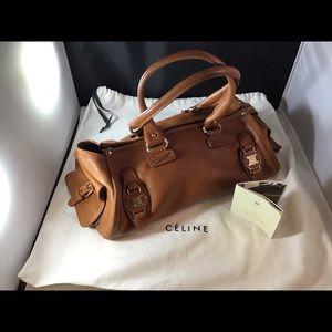 Celine Gold Logos Brown Leather WeekenderBag